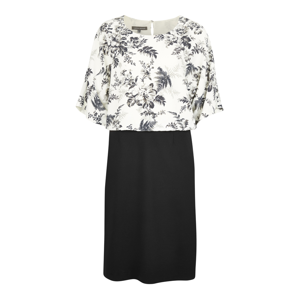 Floral Botanical Bloom 2 In1 Dress - style: shift; neckline: round neck; secondary colour: white; predominant colour: black; occasions: evening; length: on the knee; fit: body skimming; fibres: viscose/rayon - 100%; sleeve length: short sleeve; sleeve style: standard; pattern type: fabric; pattern size: big & busy; pattern: florals; texture group: woven light midweight; multicoloured: multicoloured; season: s/s 2016; wardrobe: event