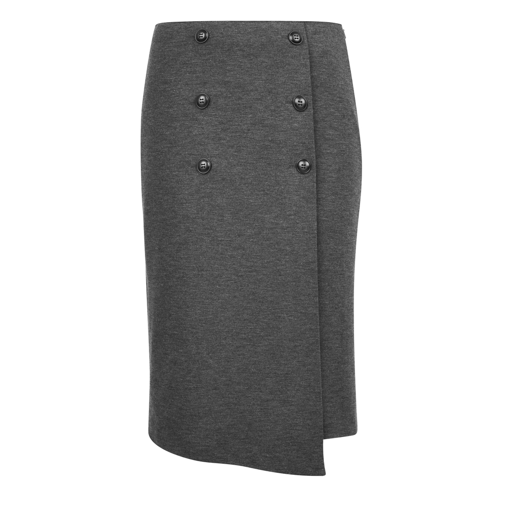 Button Front Jersey Pencil Skirt - pattern: plain; style: pencil; fit: tailored/fitted; hip detail: fitted at hip; waist: mid/regular rise; predominant colour: mid grey; occasions: work; length: on the knee; fibres: polyester/polyamide - stretch; pattern type: fabric; texture group: other - light to midweight; season: s/s 2016; wardrobe: basic