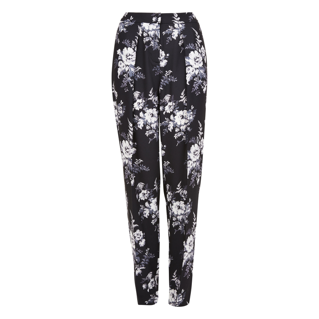 Floral Botanical Bloom Trousers - length: standard; style: harem/slouch; waist: mid/regular rise; secondary colour: white; predominant colour: black; occasions: casual; fibres: polyester/polyamide - 100%; fit: tapered; pattern type: fabric; pattern: florals; texture group: other - light to midweight; pattern size: big & busy (bottom); multicoloured: multicoloured; season: s/s 2016; wardrobe: highlight