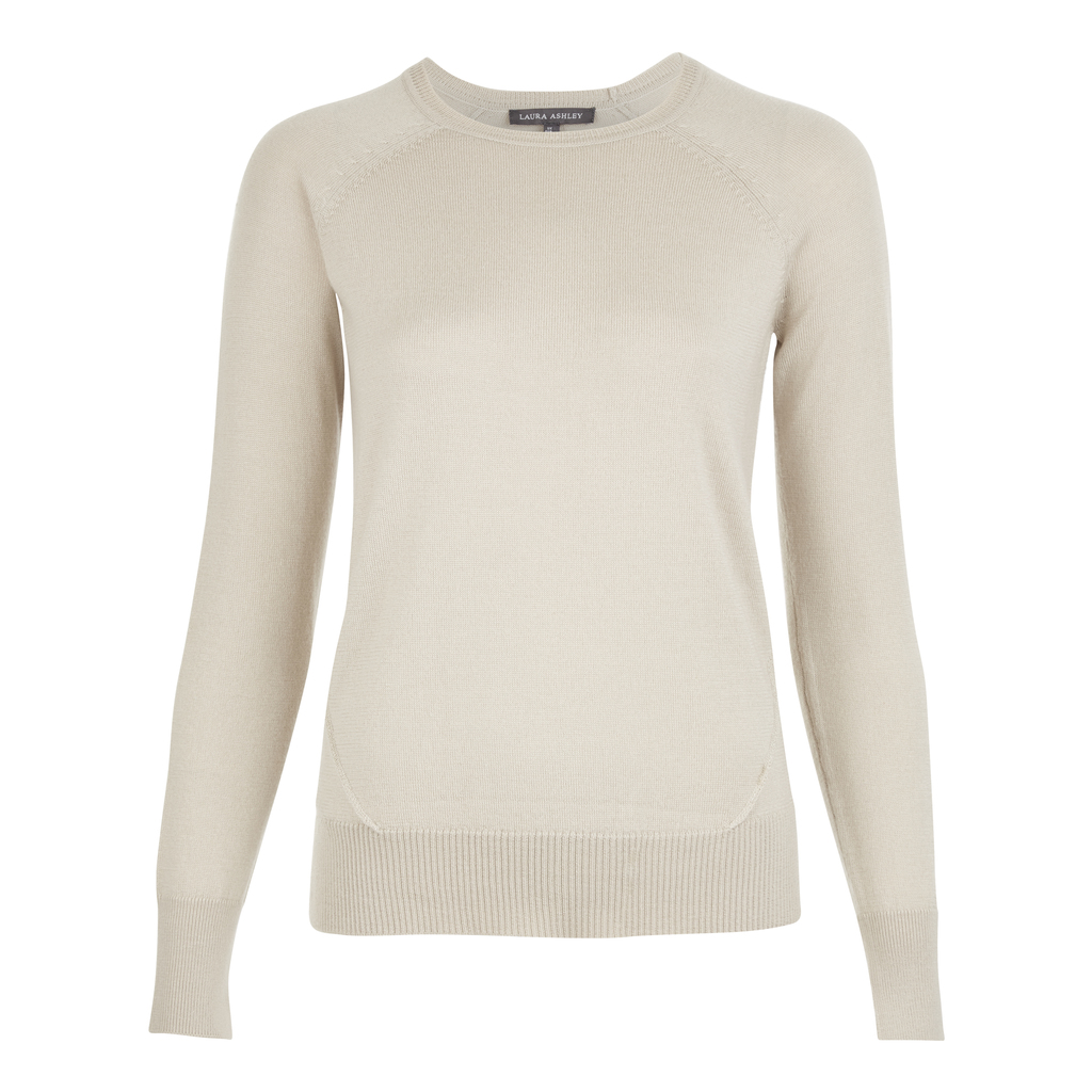 Dipped Hem Wool And Silk Jumper - pattern: plain; style: standard; predominant colour: ivory/cream; occasions: casual; length: standard; fibres: wool - mix; fit: slim fit; neckline: crew; sleeve length: long sleeve; sleeve style: standard; texture group: knits/crochet; pattern type: knitted - fine stitch; season: s/s 2016; wardrobe: basic