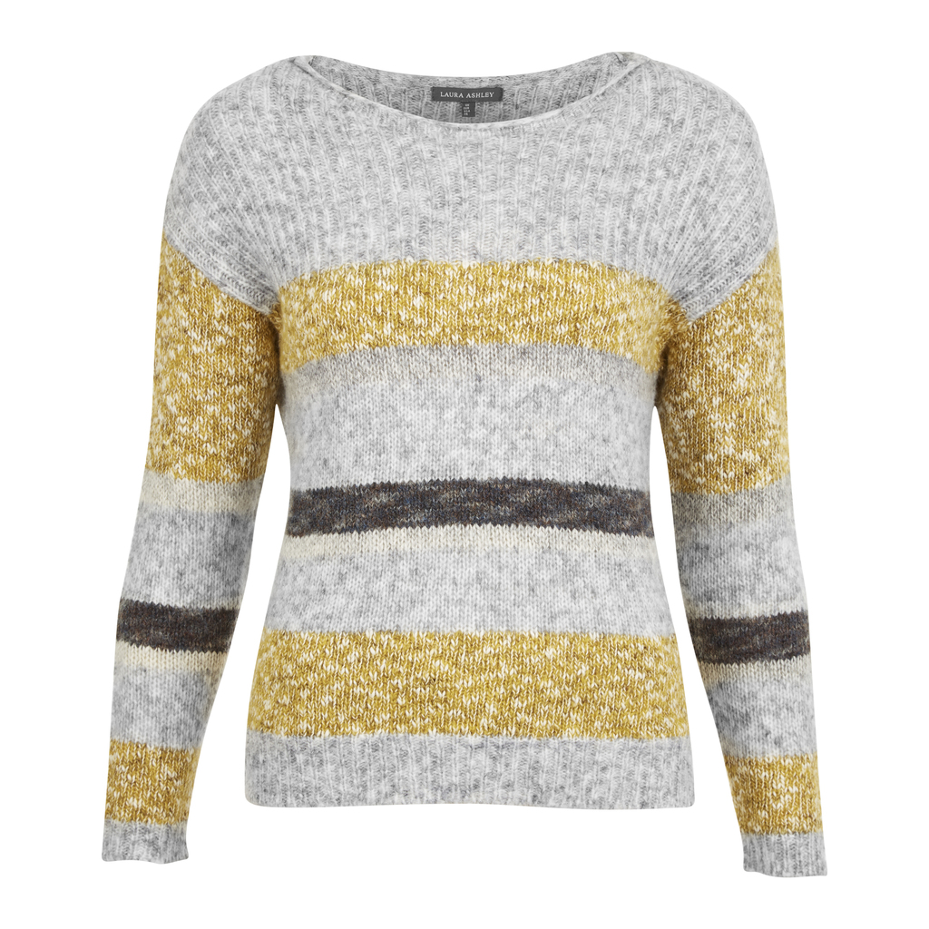 Mohair Multi Stripe Jumper - pattern: horizontal stripes; style: standard; secondary colour: mustard; predominant colour: light grey; occasions: casual; length: standard; fibres: wool - mix; fit: slim fit; neckline: crew; sleeve length: long sleeve; sleeve style: standard; texture group: knits/crochet; pattern type: knitted - fine stitch; multicoloured: multicoloured; season: s/s 2016