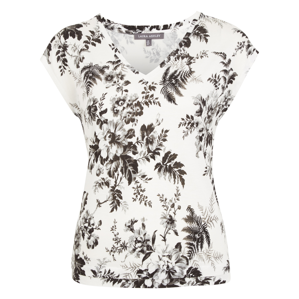 Floral Archive Print V Neck Top - neckline: v-neck; sleeve style: capped; predominant colour: white; secondary colour: mid grey; occasions: casual; length: standard; style: top; fibres: viscose/rayon - 100%; fit: body skimming; sleeve length: short sleeve; pattern type: fabric; pattern: florals; texture group: jersey - stretchy/drapey; pattern size: big & busy (top); multicoloured: multicoloured; season: s/s 2016; wardrobe: highlight