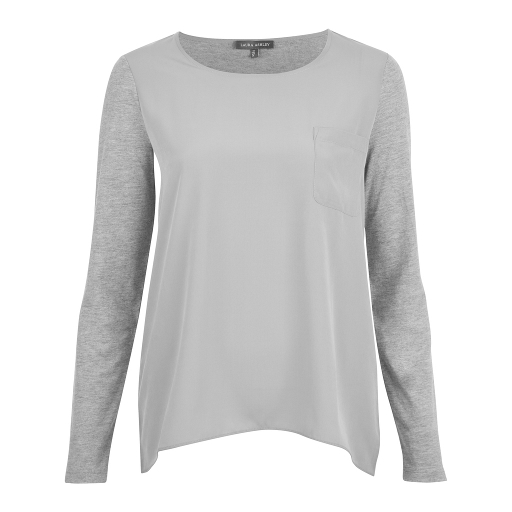 Woven Front Dipped Hem Top - pattern: plain; predominant colour: light grey; occasions: casual; length: standard; style: top; fibres: cotton - mix; fit: body skimming; neckline: crew; sleeve length: long sleeve; sleeve style: standard; pattern type: fabric; texture group: jersey - stretchy/drapey; season: s/s 2016; wardrobe: basic