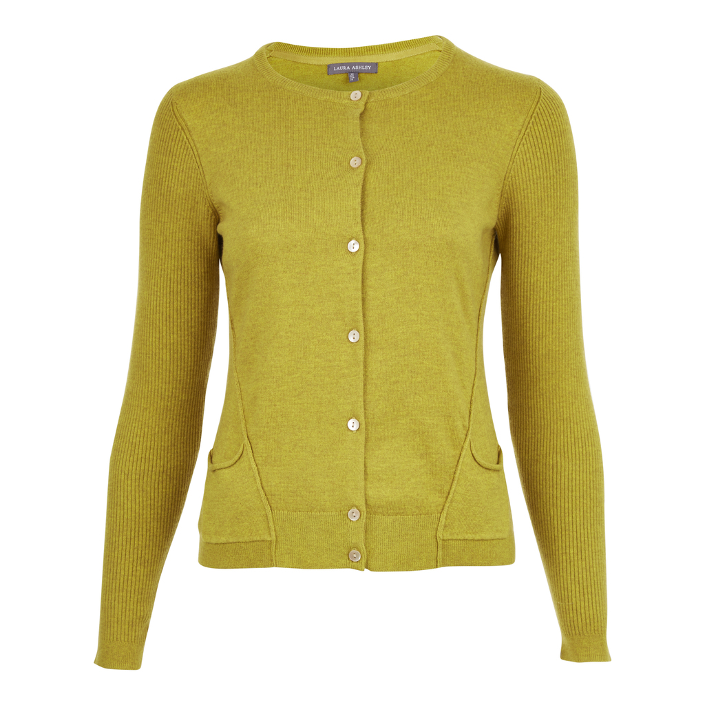 Exposed Seams Pocket Cardigan - neckline: round neck; pattern: polka dot; predominant colour: lime; occasions: casual; length: standard; style: standard; fibres: cotton - 100%; fit: slim fit; sleeve length: long sleeve; sleeve style: standard; texture group: knits/crochet; pattern type: knitted - fine stitch; season: s/s 2016