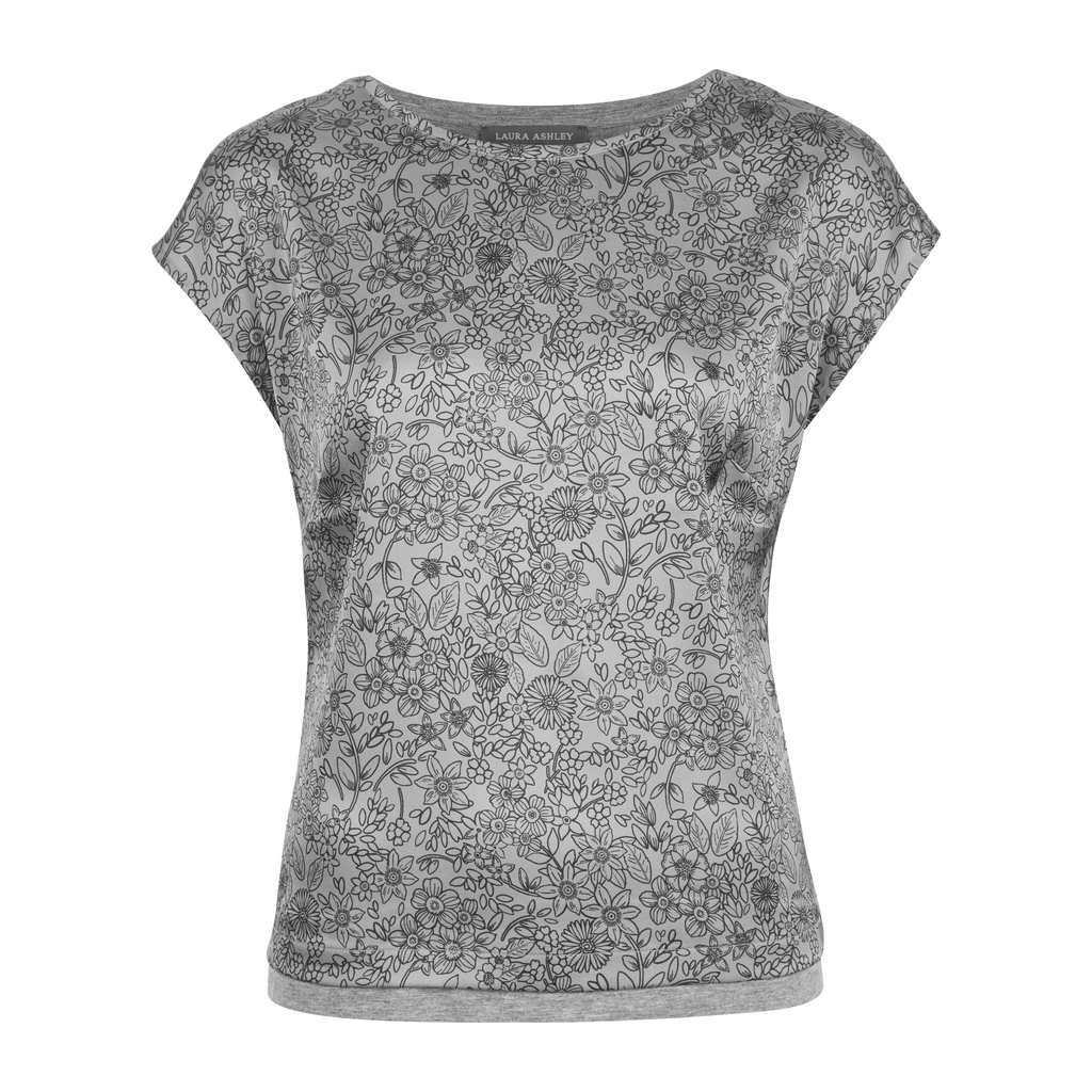 Woven Front Floral Print Top - predominant colour: mid grey; occasions: casual; length: standard; style: top; fibres: viscose/rayon - stretch; fit: body skimming; neckline: crew; sleeve length: short sleeve; sleeve style: standard; pattern type: fabric; pattern size: light/subtle; pattern: florals; texture group: jersey - stretchy/drapey; season: s/s 2016; wardrobe: highlight