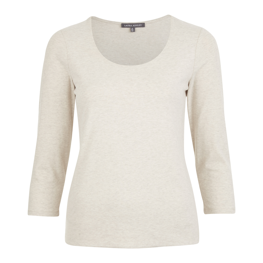 Double Front Scoop Neck Top - neckline: round neck; pattern: plain; predominant colour: ivory/cream; occasions: casual; length: standard; style: top; fibres: cotton - mix; fit: body skimming; sleeve length: 3/4 length; sleeve style: standard; pattern type: fabric; texture group: jersey - stretchy/drapey; season: s/s 2016; wardrobe: basic