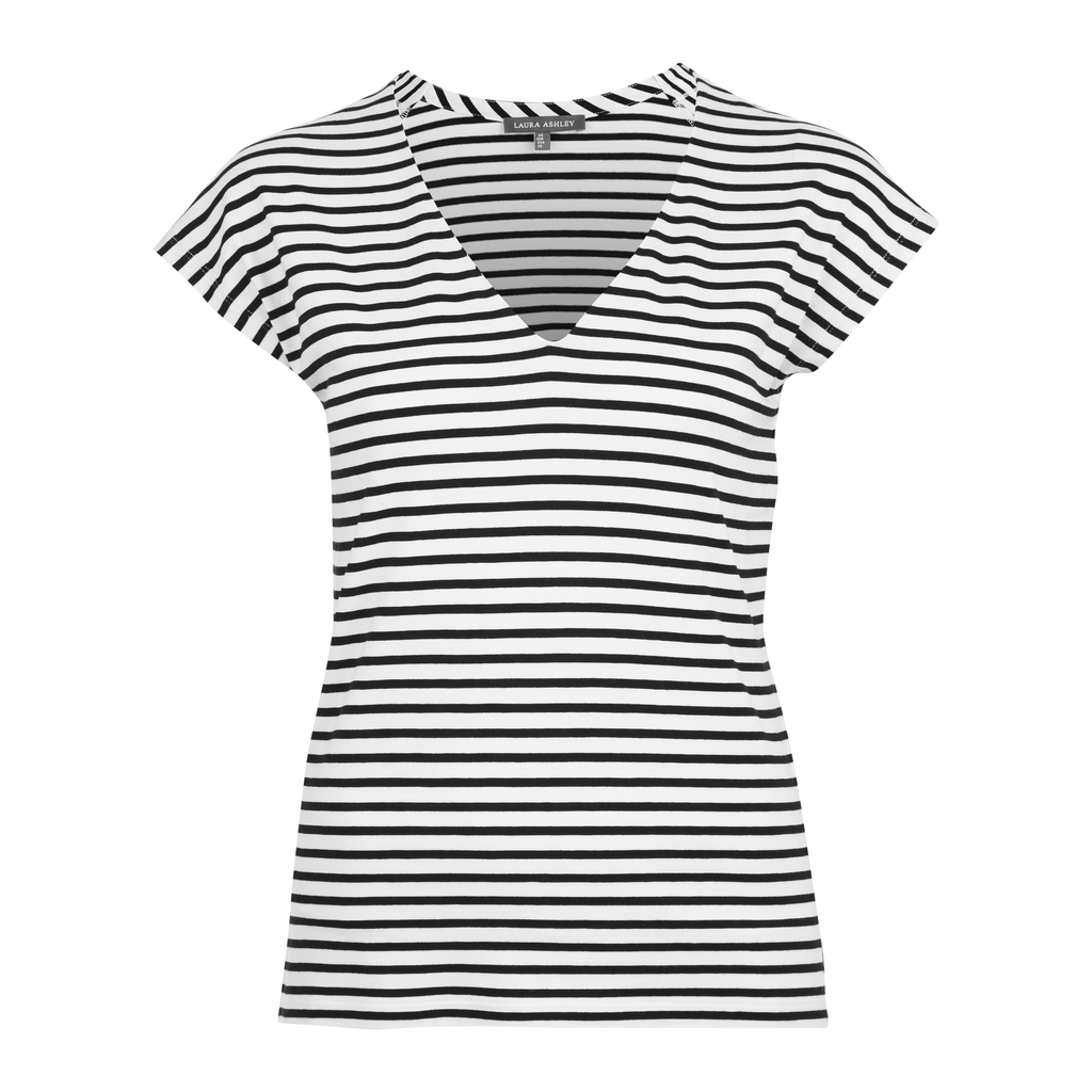 Cap Sleeve V Neck Stripe Top - neckline: v-neck; pattern: horizontal stripes; predominant colour: white; secondary colour: black; occasions: casual; length: standard; style: top; fibres: cotton - mix; fit: body skimming; sleeve length: short sleeve; sleeve style: standard; pattern type: fabric; texture group: jersey - stretchy/drapey; multicoloured: multicoloured; season: s/s 2016; wardrobe: basic
