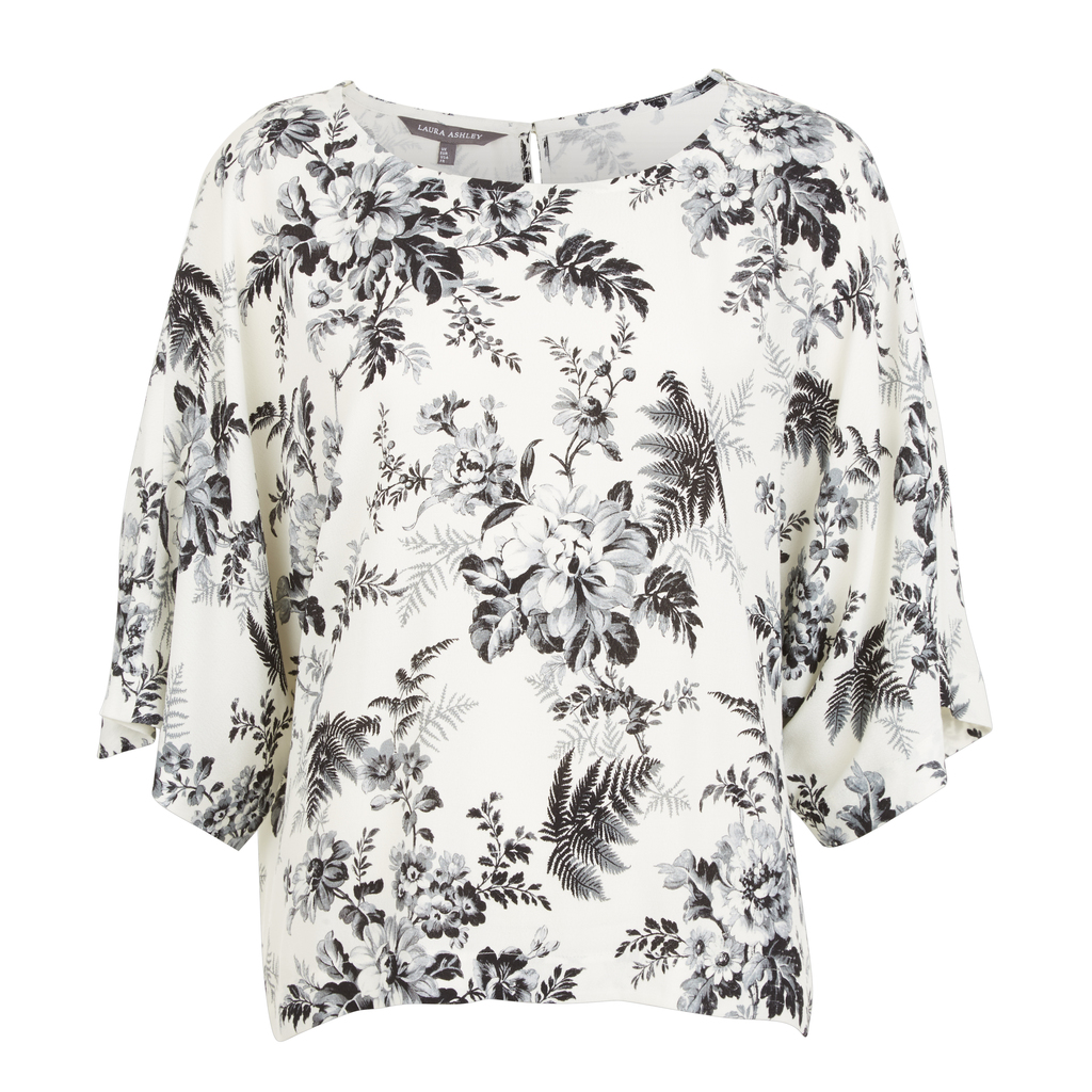 Floral Botanical Bloom Blouse - neckline: round neck; style: blouse; secondary colour: white; predominant colour: light grey; occasions: casual; length: standard; fibres: polyester/polyamide - 100%; fit: body skimming; sleeve length: 3/4 length; sleeve style: standard; pattern type: fabric; pattern size: standard; pattern: florals; texture group: other - light to midweight; multicoloured: multicoloured; season: s/s 2016; wardrobe: highlight