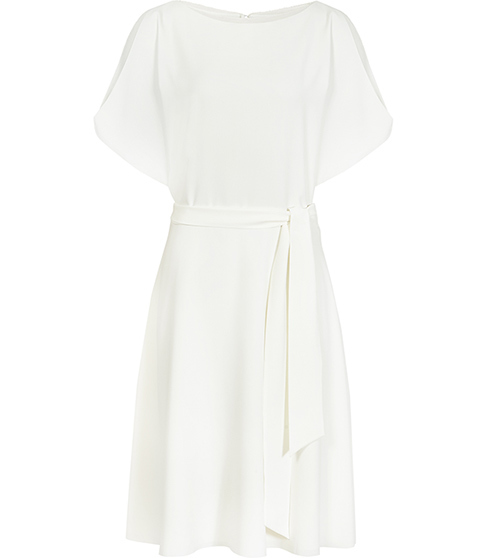 Hermione Cut Away Shoulder Dress - style: shift; pattern: plain; waist detail: belted waist/tie at waist/drawstring; predominant colour: white; occasions: evening; length: on the knee; fit: body skimming; fibres: polyester/polyamide - 100%; neckline: crew; sleeve length: half sleeve; sleeve style: standard; texture group: crepes; pattern type: fabric; season: s/s 2016; wardrobe: event