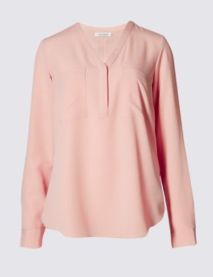 Button Through Long Sleeve Top - pattern: plain; length: below the bottom; style: blouse; predominant colour: pink; occasions: casual, creative work; neckline: collarstand & mandarin with v-neck; fibres: polyester/polyamide - 100%; fit: loose; sleeve length: long sleeve; sleeve style: standard; bust detail: bulky details at bust; pattern type: fabric; texture group: other - light to midweight; season: s/s 2016; wardrobe: highlight