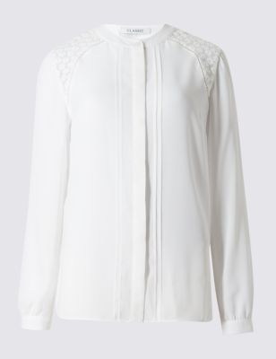 Embroidery Blouse - pattern: plain; length: below the bottom; style: blouse; predominant colour: white; occasions: casual, work, creative work; neckline: collarstand; fibres: polyester/polyamide - 100%; fit: straight cut; sleeve length: long sleeve; sleeve style: standard; texture group: cotton feel fabrics; pattern type: fabric; embellishment: embroidered; season: s/s 2016; wardrobe: highlight