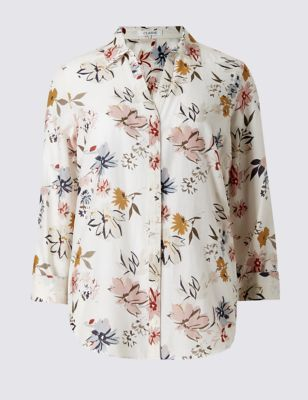 Cotton Rich Floral Shirt With Silk - neckline: shirt collar/peter pan/zip with opening; style: shirt; predominant colour: ivory/cream; secondary colour: pink; occasions: casual, creative work; length: standard; fibres: cotton - mix; fit: loose; sleeve length: 3/4 length; sleeve style: standard; pattern type: fabric; pattern size: standard; pattern: florals; texture group: woven light midweight; multicoloured: multicoloured; season: s/s 2016; wardrobe: highlight