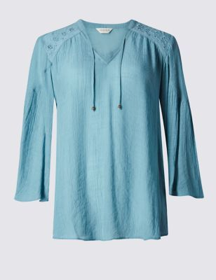 Eyelet Trim Blouses - neckline: v-neck; sleeve style: angel/waterfall; pattern: plain; style: blouse; predominant colour: denim; occasions: casual, creative work; length: standard; fibres: polyester/polyamide - 100%; fit: loose; sleeve length: 3/4 length; texture group: crepes; pattern type: fabric; season: s/s 2016; wardrobe: highlight