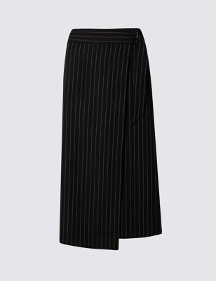 Belted Wrap Asymmetrical Skirt - length: below the knee; fit: loose/voluminous; pattern: pinstripe; waist: high rise; secondary colour: white; predominant colour: black; style: a-line; fibres: polyester/polyamide - 100%; pattern type: fabric; texture group: woven light midweight; occasions: creative work; season: s/s 2016; wardrobe: highlight