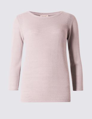 3/4 Sleeve Lightweight Stitch Jumper - neckline: round neck; pattern: plain; style: standard; predominant colour: blush; occasions: casual, creative work; length: standard; fibres: acrylic - mix; fit: standard fit; sleeve length: 3/4 length; sleeve style: standard; texture group: knits/crochet; pattern type: knitted - fine stitch; season: s/s 2016; wardrobe: basic