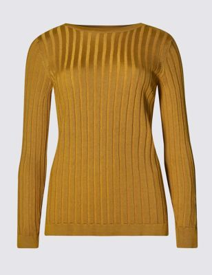 Plaited Jumper - neckline: slash/boat neckline; pattern: plain; style: standard; predominant colour: mustard; occasions: casual, creative work; length: standard; fibres: cotton - mix; fit: standard fit; sleeve length: long sleeve; sleeve style: standard; texture group: knits/crochet; pattern type: knitted - other; season: s/s 2016; wardrobe: highlight
