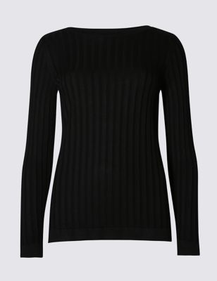 Ribbed Slash Neck Jumper - style: standard; pattern: cable knit; predominant colour: black; occasions: casual, creative work; length: standard; fibres: cotton - mix; fit: slim fit; neckline: crew; sleeve length: long sleeve; sleeve style: standard; texture group: knits/crochet; pattern type: knitted - other; pattern size: light/subtle; season: s/s 2016; wardrobe: highlight