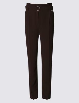 Roma Rise Paper Bag Tapered Leg Trousers - length: standard; pattern: plain; style: peg leg; waist: high rise; waist detail: belted waist/tie at waist/drawstring; predominant colour: black; occasions: work, creative work; fibres: polyester/polyamide - 100%; texture group: crepes; fit: tapered; pattern type: fabric; season: s/s 2016; wardrobe: basic