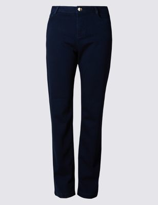 Roma Rise Straight Leg Sateen Jeans - style: straight leg; length: standard; pattern: plain; waist: mid/regular rise; predominant colour: navy; occasions: casual; fibres: cotton - stretch; texture group: denim; pattern type: fabric; season: s/s 2016