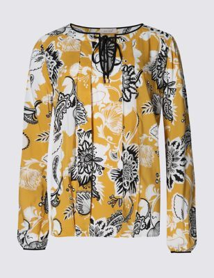 Floral Print Blouse - style: blouse; secondary colour: white; predominant colour: mustard; occasions: casual, creative work; length: standard; neckline: peep hole neckline; fibres: viscose/rayon - 100%; fit: loose; sleeve length: long sleeve; sleeve style: standard; pattern type: fabric; pattern size: standard; pattern: florals; texture group: woven light midweight; multicoloured: multicoloured; season: s/s 2016; wardrobe: highlight