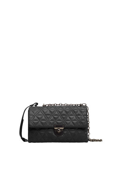 Quilted Cross Body Bag - predominant colour: black; occasions: casual; type of pattern: standard; style: messenger; length: across body/long; size: small; material: faux leather; embellishment: quilted; finish: plain; pattern: patterned/print; season: s/s 2016