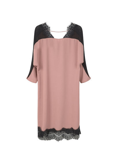 Lace Panel Dress - style: shift; neckline: v-neck; pattern: plain; back detail: back revealing; predominant colour: blush; secondary colour: black; occasions: evening; length: on the knee; fit: body skimming; fibres: polyester/polyamide - 100%; sleeve length: 3/4 length; sleeve style: standard; texture group: crepes; pattern type: fabric; embellishment: lace; multicoloured: multicoloured; season: s/s 2016; wardrobe: event; embellishment location: hem, shoulder