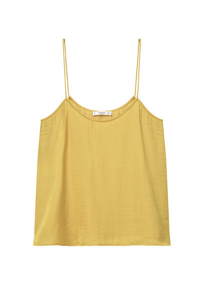 Flowy Strap Top - sleeve style: spaghetti straps; pattern: plain; style: vest top; predominant colour: primrose yellow; occasions: casual; length: standard; neckline: scoop; fibres: polyester/polyamide - 100%; fit: body skimming; sleeve length: sleeveless; texture group: sheer fabrics/chiffon/organza etc.; pattern type: fabric; season: s/s 2016; wardrobe: highlight