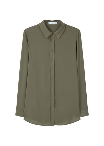 Flowy Shirt - neckline: shirt collar/peter pan/zip with opening; pattern: plain; style: shirt; predominant colour: khaki; occasions: casual; length: standard; fibres: polyester/polyamide - 100%; fit: body skimming; sleeve length: long sleeve; sleeve style: standard; texture group: sheer fabrics/chiffon/organza etc.; pattern type: fabric; season: s/s 2016; wardrobe: basic