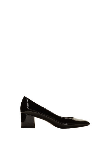 Patent Leather Heel Shoes - predominant colour: black; occasions: evening; material: leather; heel height: high; heel: block; toe: pointed toe; style: courts; finish: patent; pattern: plain; season: s/s 2016; wardrobe: event