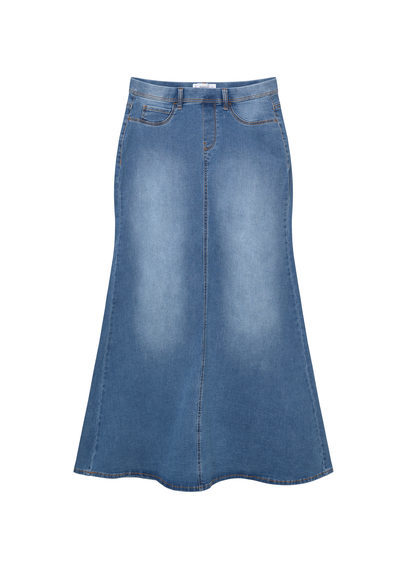 Denim Long Skirt - pattern: plain; style: fishtail; length: ankle length; fit: loose/voluminous; waist: mid/regular rise; predominant colour: denim; occasions: casual, creative work; fibres: cotton - 100%; texture group: denim; pattern type: fabric; season: s/s 2016; wardrobe: basic
