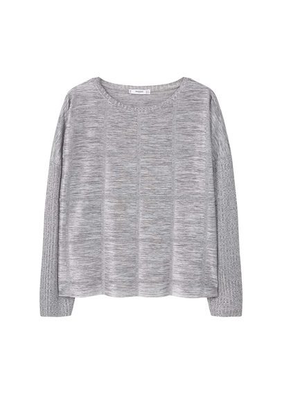 Textured T Shirt - pattern: plain; style: t-shirt; predominant colour: light grey; occasions: casual; length: standard; fibres: polyester/polyamide - stretch; fit: loose; neckline: crew; sleeve length: long sleeve; sleeve style: standard; pattern type: fabric; texture group: jersey - stretchy/drapey; season: s/s 2016; wardrobe: basic