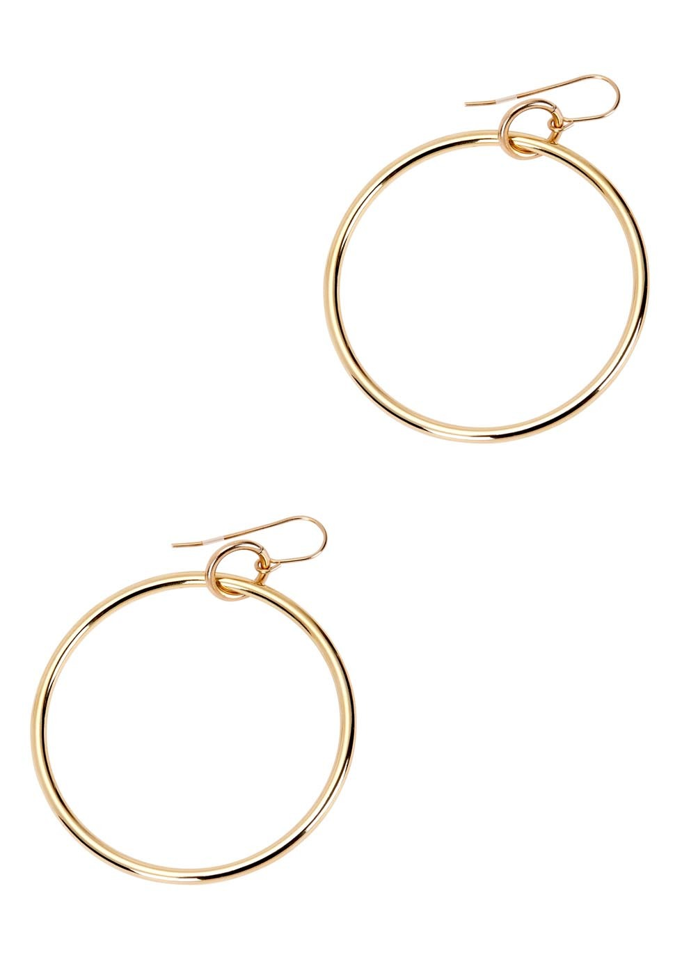Lueur 24kt Gold Plated Hoop Earrings - predominant colour: gold; occasions: casual, work, creative work; style: hoop; length: mid; size: standard; material: chain/metal; fastening: pierced; finish: metallic; embellishment: chain/metal; season: s/s 2016; wardrobe: basic