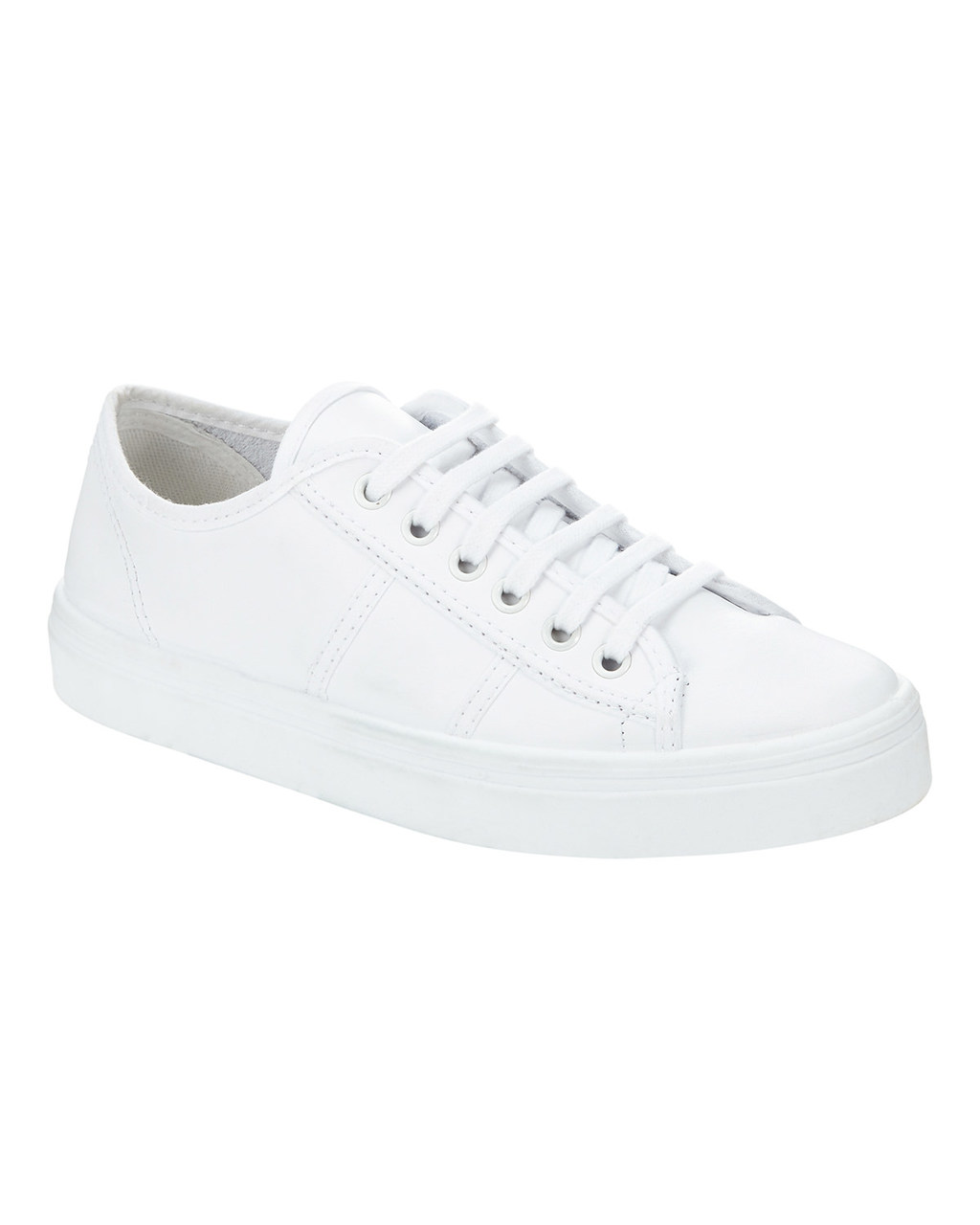 Carmen Leather Trainer - predominant colour: white; occasions: casual; material: leather; heel height: flat; toe: round toe; style: trainers; finish: plain; pattern: plain; season: s/s 2016; wardrobe: basic