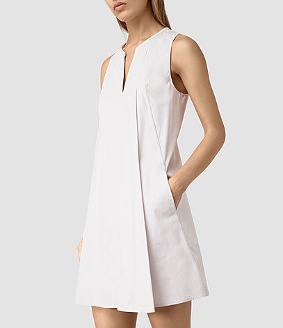 Bea Dress - style: shift; length: mid thigh; neckline: v-neck; fit: tailored/fitted; pattern: plain; sleeve style: sleeveless; predominant colour: white; occasions: evening; fibres: cotton - 100%; sleeve length: sleeveless; texture group: cotton feel fabrics; pattern type: fabric; season: s/s 2016; wardrobe: event