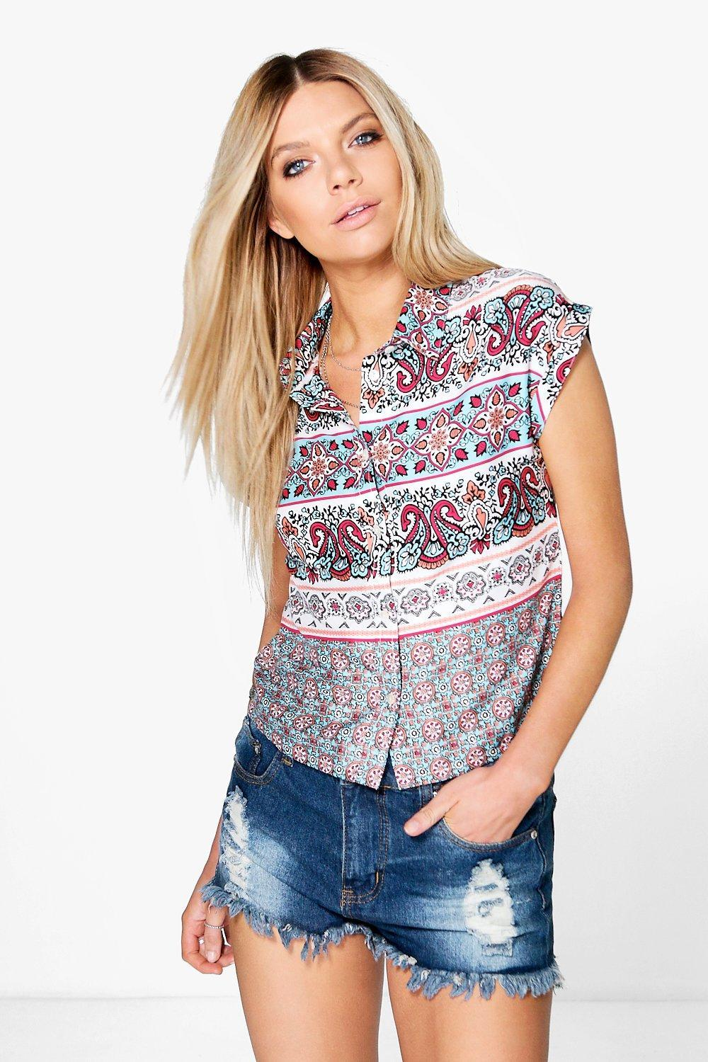 Printed Button Crop Shirt Multi - neckline: shirt collar/peter pan/zip with opening; style: shirt; secondary colour: pink; predominant colour: pale blue; occasions: casual; length: standard; fibres: polyester/polyamide - 100%; fit: body skimming; sleeve length: short sleeve; sleeve style: standard; texture group: cotton feel fabrics; pattern type: fabric; pattern: patterned/print; multicoloured: multicoloured; season: s/s 2016; wardrobe: highlight