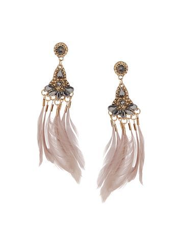 Womens Feather Chandelier Earrings Grey - secondary colour: blush; predominant colour: gold; occasions: evening; style: chandelier; length: long; size: large/oversized; material: chain/metal; fastening: pierced; finish: plain; embellishment: feathers; multicoloured: multicoloured; season: s/s 2016; wardrobe: event