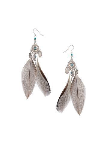 Womens Feather Drop Earrings Silver - predominant colour: silver; occasions: evening; style: drop; length: long; size: large/oversized; material: chain/metal; fastening: pierced; finish: plain; embellishment: feathers; season: s/s 2016; wardrobe: event