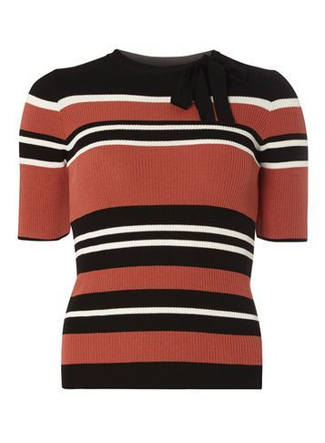 Womens Multi Stripe Tie Neck Jumper Multi Colour - pattern: horizontal stripes; style: standard; predominant colour: terracotta; secondary colour: black; occasions: casual, creative work; length: standard; fibres: cotton - mix; fit: slim fit; neckline: crew; sleeve length: short sleeve; sleeve style: standard; texture group: knits/crochet; pattern type: knitted - other; pattern size: standard; embellishment: bow; season: s/s 2016; wardrobe: highlight; embellishment location: neck