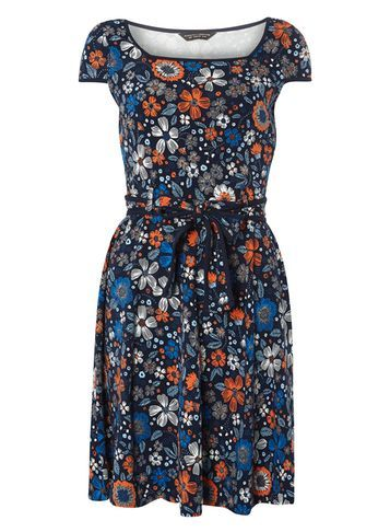 Womens Blue Embroidered Print Dress Blue - neckline: round neck; sleeve style: capped; waist detail: belted waist/tie at waist/drawstring; predominant colour: navy; secondary colour: bright orange; occasions: casual; length: just above the knee; fit: fitted at waist & bust; style: fit & flare; fibres: cotton - stretch; sleeve length: short sleeve; pattern type: fabric; pattern size: big & busy; pattern: florals; texture group: jersey - stretchy/drapey; multicoloured: multicoloured; season: s/s 2016; wardrobe: highlight