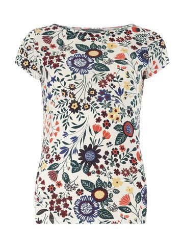 Womens Ivory Multi Floral Tee White - sleeve style: capped; style: t-shirt; predominant colour: ivory/cream; secondary colour: denim; occasions: casual; length: standard; fibres: cotton - 100%; fit: body skimming; neckline: crew; sleeve length: short sleeve; pattern type: fabric; pattern size: standard; pattern: patterned/print; texture group: other - light to midweight; multicoloured: multicoloured; season: s/s 2016