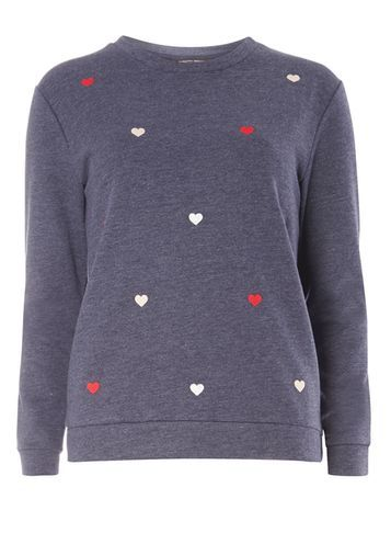 Womens Navy Heart Embroidered Sweat Blue - neckline: round neck; style: sweat top; predominant colour: denim; occasions: casual, creative work; length: standard; fibres: cotton - mix; fit: body skimming; sleeve length: long sleeve; sleeve style: standard; pattern type: fabric; pattern size: light/subtle; pattern: patterned/print; texture group: jersey - stretchy/drapey; embellishment: embroidered; multicoloured: multicoloured; season: s/s 2016; wardrobe: highlight