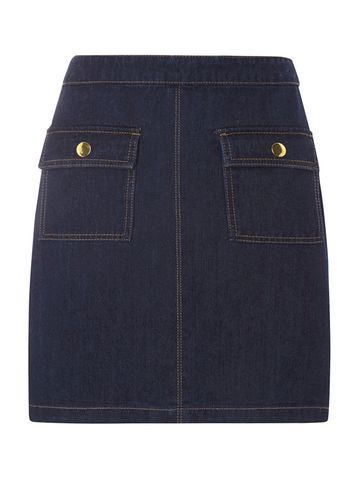 Womens **Tall Gold Button Denim Mini Skirt Blue - length: mini; pattern: plain; fit: tailored/fitted; hip detail: front pockets at hip; waist: high rise; predominant colour: navy; occasions: casual, creative work; style: mini skirt; fibres: cotton - 100%; texture group: denim; pattern type: fabric; season: s/s 2016; wardrobe: basic