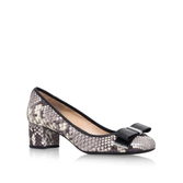 Kiera Flex Mid Pump - secondary colour: ivory/cream; predominant colour: taupe; material: leather; heel height: mid; heel: block; toe: round toe; style: courts; finish: plain; pattern: animal print; embellishment: bow; occasions: creative work; season: s/s 2016; wardrobe: highlight