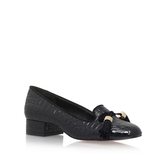 Language - predominant colour: black; occasions: casual, creative work; material: leather; heel height: high; embellishment: tassels; heel: block; toe: round toe; style: courts; finish: patent; pattern: plain; season: s/s 2016