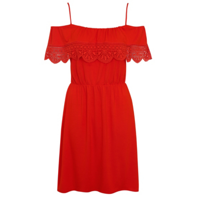 Cold Shoulder Crochet Trim Jersey Dress Coral - sleeve style: capped; pattern: plain; predominant colour: true red; occasions: casual; length: just above the knee; fit: fitted at waist & bust; style: fit & flare; fibres: viscose/rayon - stretch; shoulder detail: cut out shoulder; sleeve length: short sleeve; neckline: medium square neck; pattern type: fabric; texture group: jersey - stretchy/drapey; season: s/s 2016; wardrobe: highlight
