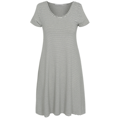 Striped Jersey Cold Shoulder Dress White - style: trapeze; neckline: round neck; fit: loose; pattern: horizontal stripes; secondary colour: white; predominant colour: black; occasions: casual; length: just above the knee; fibres: viscose/rayon - stretch; sleeve length: short sleeve; sleeve style: standard; pattern type: fabric; texture group: jersey - stretchy/drapey; multicoloured: multicoloured; season: s/s 2016; wardrobe: basic