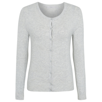 Crew Neck Cardigan Light Grey - neckline: round neck; pattern: plain; predominant colour: light grey; occasions: casual; length: standard; style: standard; fit: slim fit; sleeve length: long sleeve; sleeve style: standard; texture group: knits/crochet; pattern type: knitted - fine stitch; fibres: viscose/rayon - mix; season: s/s 2016; wardrobe: basic