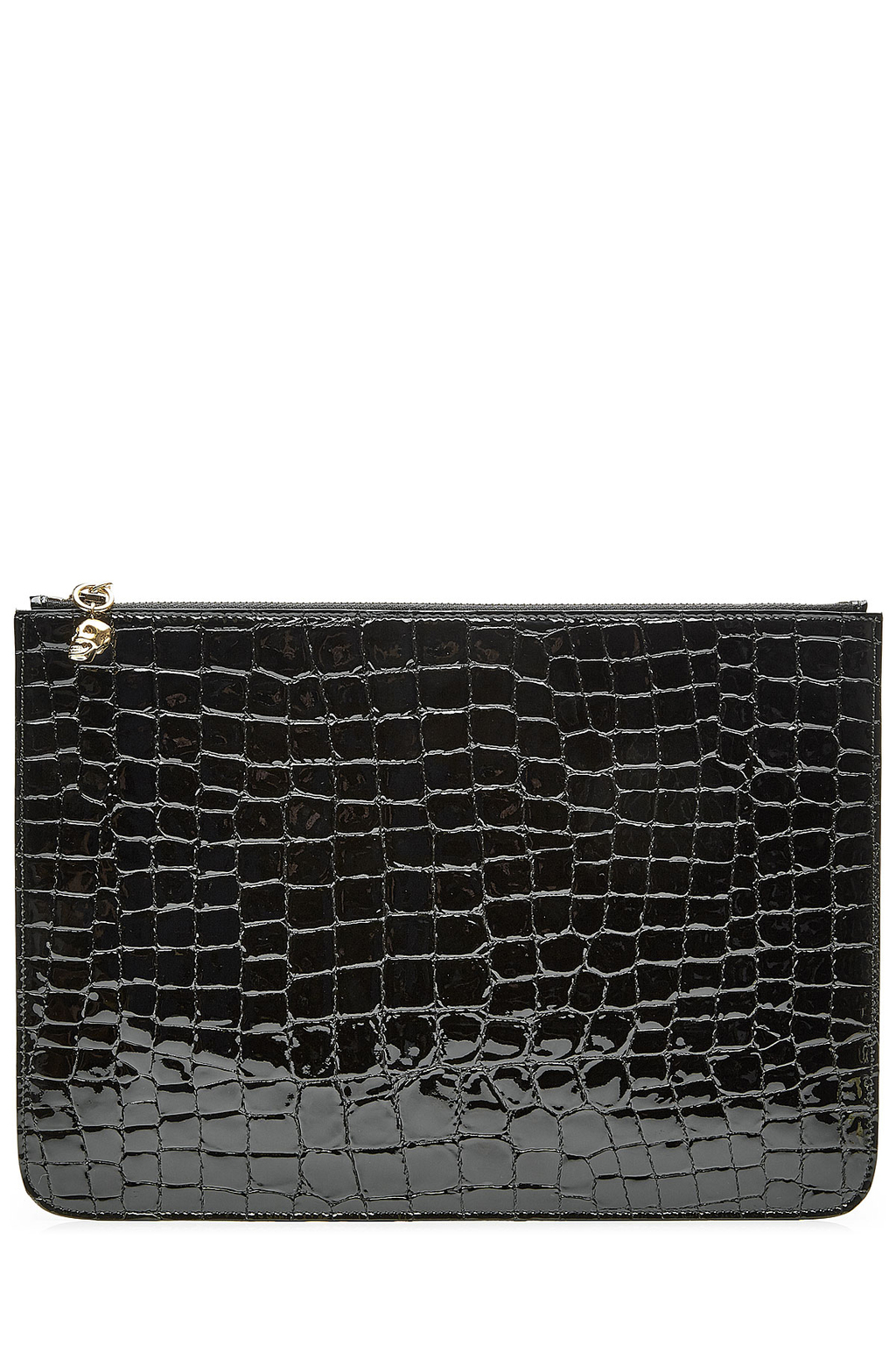 Embossed Leather Zipped Pouch - predominant colour: black; occasions: evening; type of pattern: standard; style: clutch; length: hand carry; size: standard; material: leather; pattern: plain; finish: patent; season: s/s 2016; wardrobe: event