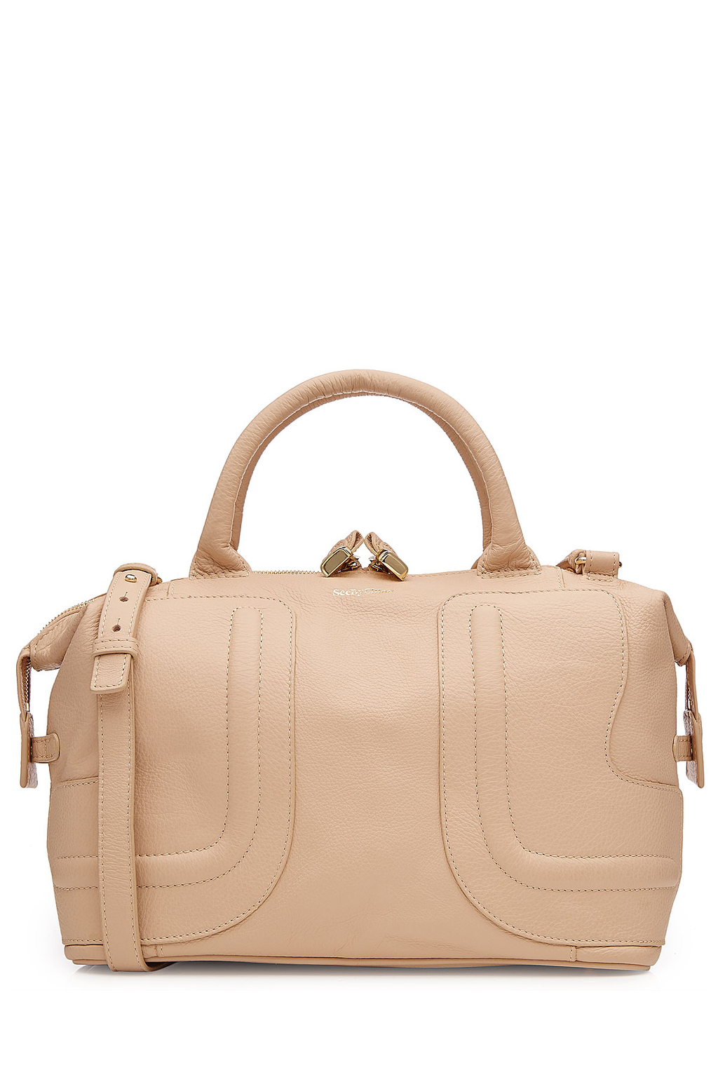 Leather Tote Beige - predominant colour: blush; occasions: casual; type of pattern: standard; style: tote; length: hand carry; size: standard; material: leather; pattern: plain; finish: plain; season: s/s 2016; wardrobe: investment