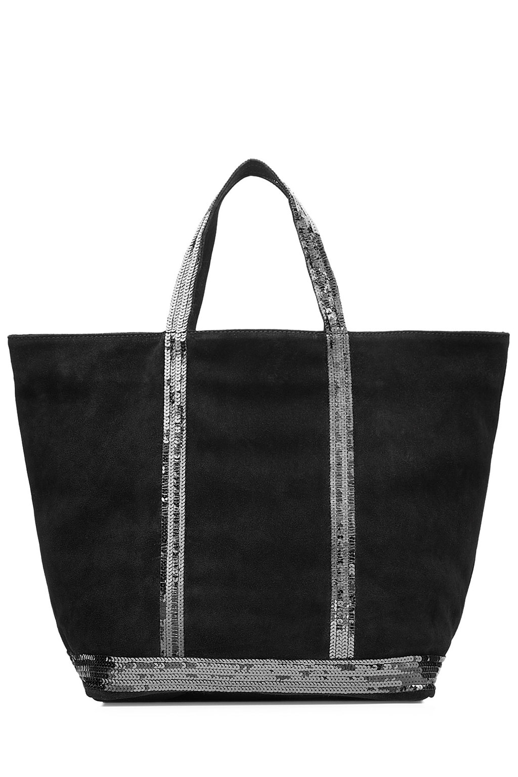 Suede Tote With Sequin Embellishment Black - secondary colour: silver; predominant colour: black; occasions: casual; type of pattern: standard; style: tote; length: shoulder (tucks under arm); size: oversized; material: suede; embellishment: sequins; pattern: plain; finish: plain; season: s/s 2016; wardrobe: investment